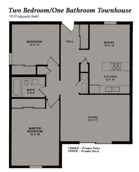 Two Bedroom/One Bathroom Townhouse